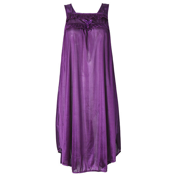 Women Sexy Ice Silk Sleeveless Nightdress Breathable Pure Color Sleepwear
