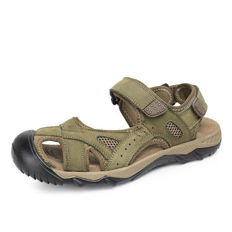 Men Leather Top Protecting Hollow Out Hook Loop Beach Sandals