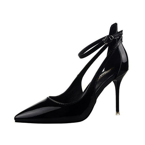 9.5 cm Hollow Out Buckle Pointed Toe European Style High Heel Pumps