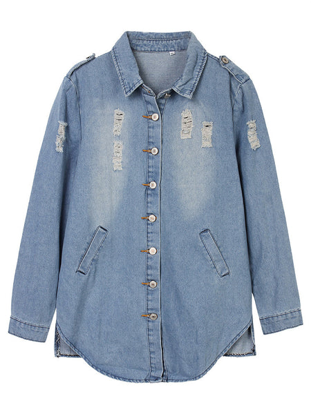 Casual Solid Lapel Long Sleeve High Low Denim Jacket