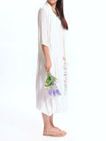 Chinese Style Vintage Printed Fake Two-Piece Solid Linen Dress For Women