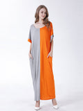 Loose Color Contrast Patchwork Half Sleeve Maxi Dress For Women