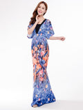 Bohemian Women Printed Batwing Sleeve Pleated Maxi Dress - shechoic.com