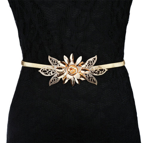Gold Plated Flower Elastic Waist Belt