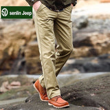 senlin Jeep Mens Large Size Summer Thin Cotton Washed Casual Straight Pants