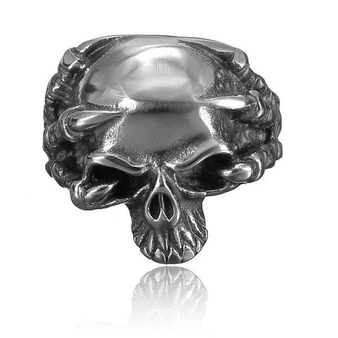 316L Stainless Steel Punk Vintage Silver Skull Ring