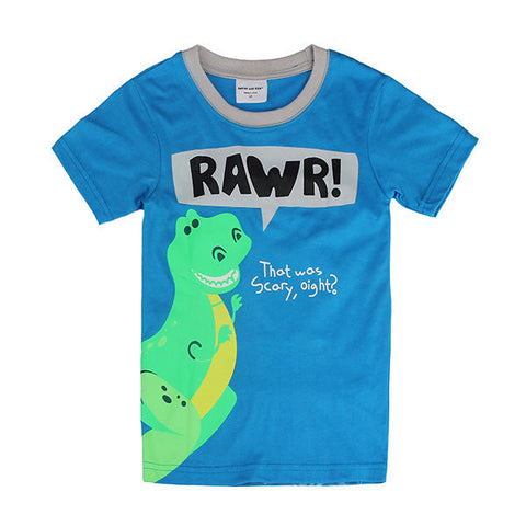 Children Boy Lovely Dinosaur Pure Cotton Short Sleeve T-shirt Top