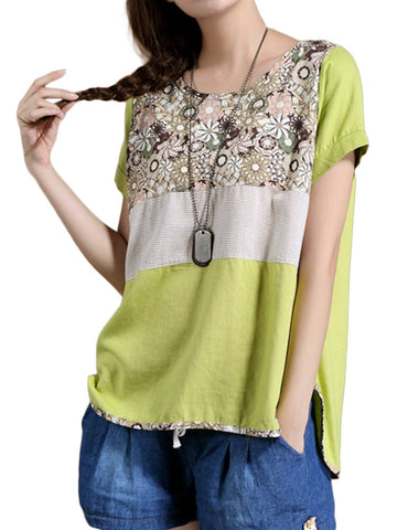 Women Short Sleeve O Neck Split Floral Printed Vintage T-shirt Ethnic T-shirt
