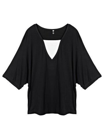 Loose Women Batwing Sleeve V-Neck Fake Two-piece Patchwork Pullover T-shirt