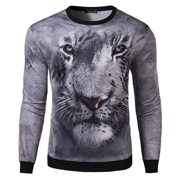 Mens 3D Tiger Head Printing O-neck Hoodies Casual Sweatshirt