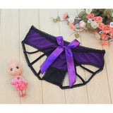 Women Sexy Hollow Out Back Briefs Low Waist Bownot Seamless Panties Underwear
