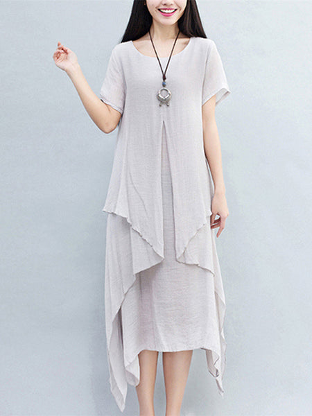 Women Short Sleeve O Neck Fake Two Piece Pure Color Cotton Linen Dress