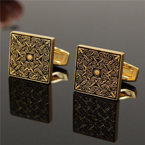 Men Royal Gold Cufflink Square Grid Cufflinks Wedding Party Gift Shirt Suit Accessories