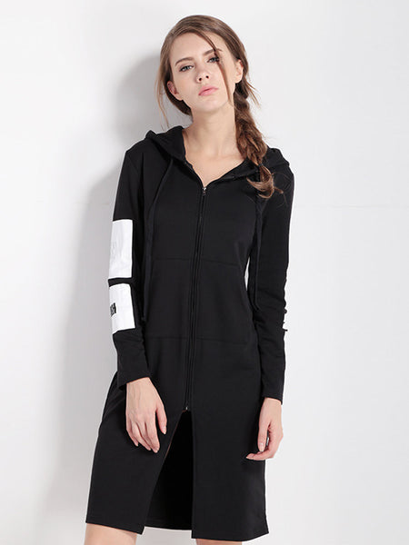 Casual Letter Printed Zipper Hooded Sweatshirt Dress For Women