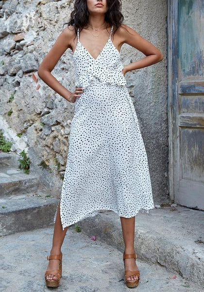 White Polka Dot Ruffle Slit Spaghetti Strap V-neck Flowy Beach Bohemian Maxi Dress