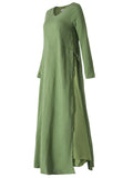 Vintage Fake Two Pieces Long Sleeve V Neck Pure Color Dress For Women
