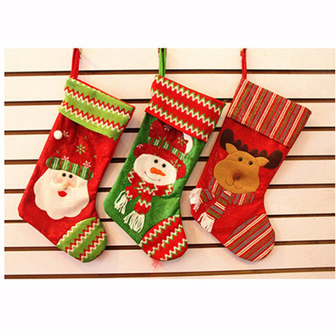 Christmas Decor Sock Santa Claus Snowman Deer Holiday Party Candy Bag