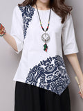 Women Vintage Half Sleeve Brief Printing Irregular Cotton Linen T-shirt