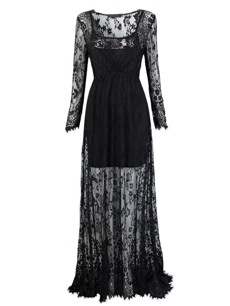 Sexy Women See-Through Floor-Length Long Sleeve V Neck Lace Maxi Dress