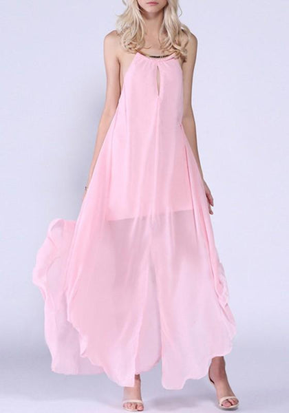 Pink Cut Out Irregular Halter Neck Open Back Slit Maxi Dress
