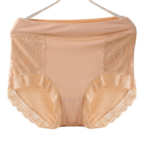 2XL-3XL Women Sexy Lace Seamless Modal Panties Breathable Mid Waist Underwear - shechoic.com