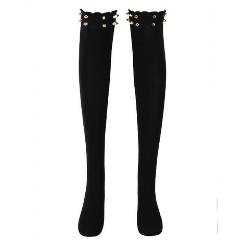 Ladies Stockings Over The Knee Solid Thigh High Cotton Cool Rivet Stockings