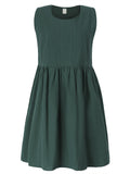 Vintage Pure Color Loose Vest Dress For Women