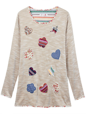 Casual Long Sleeve Loose Applique Floral Hem Pullover T-shirt
