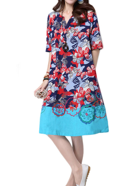 Women Vintage Short Sleeve Embroidery Stitching Linen Dress
