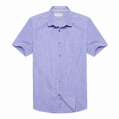 Men's Brief Style Blue Striped Short-sleeved Slim Fit Casual Shirt