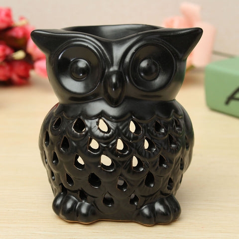 Ceramic Owl Oil Burner Fragrance Aromatherapy Tealight Candle Simmering Granule 2 Colors