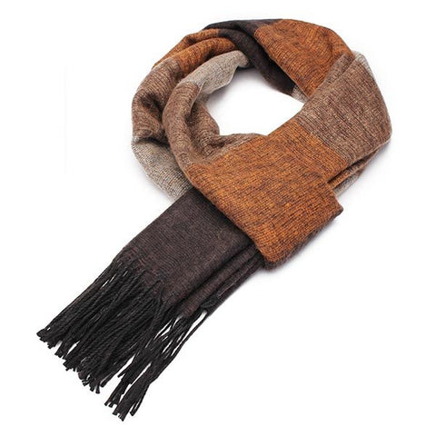 Male Oversize Cashmere Imitation Stripe Knitting Thermal Scarf