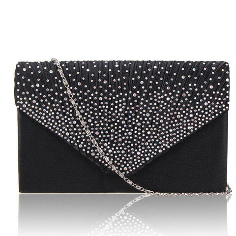 Ladies Stylish Evening Satin Bridal Diamante Clutch Bag Shoulder Bag Crossbody Bag