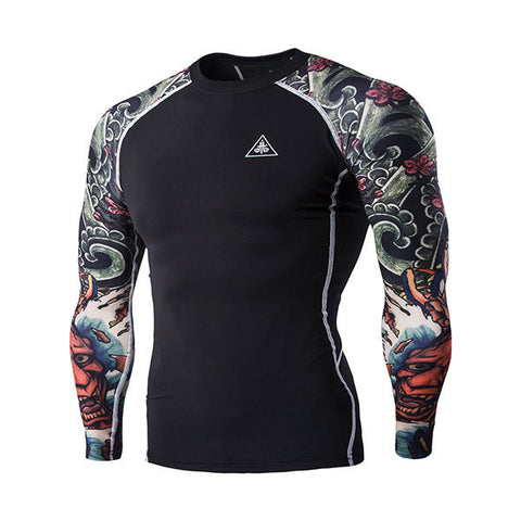 3D Ghost Tattoo Tight Quick-Drying Water-Resistant Bodybuilding Riding Training T-Shirt For Men - shechoic.com