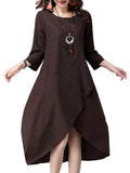 Vintage Women Irregular Hem Patchwork 3/4 Sleeve Solid O-neck Cotton Linen Dress