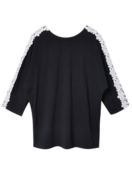 Lace Crochet Patchwork Casual Women Loose Long Sleeve T-Shirt