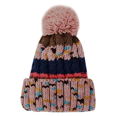 Hit Color Thermal Knitting Hat Cute Wool Ball Cap
