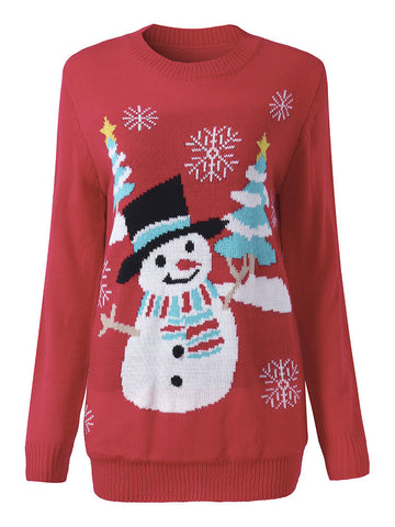Women Christmas Tree Snowman Printed Long Sleeve Sweater