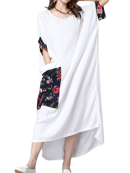 Casual Women Floral Printed Pocket Patchwork Asymmetric Linen Dress
