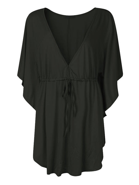 Sexy Women Loose Deep V Neck Solid Batwing Sleeve Blouse
