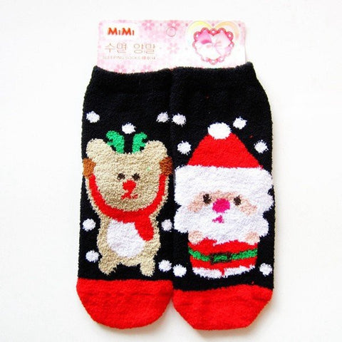 Coral Fleece Thermal Thicken Ankle Socks Christmas Santa Claus Dog Cartoon Stocking