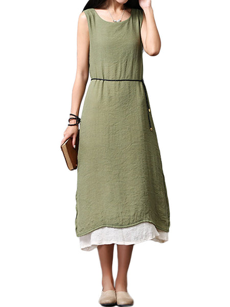 Women Sleeveless O Neck Pure Color Fake Two Piece Vintage Dress