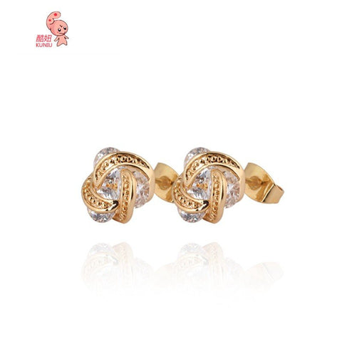 18K Gold Plated Crystal Stud Earrings