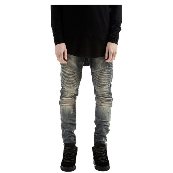 Mens Fashion Elastic Wrinkle Wear Out Slim Fit Pencil Jeans