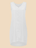Women Sleeveless V Neck Chiffon Party Tunic Dress