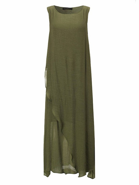 Vintage Sleeveless High Split Shirred Solid Long Linen Dress For Women