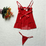 Women Sexy Red Heart Hollow Breast Babydoll Open Back Temptation Nightdress