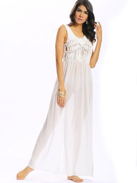 Woven Sexy Weave Tassels Backless Sleeveless Slit O Neck Maxi Dress