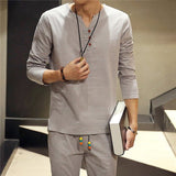 Mens Solid Color Vintage Linen Buttons Casual Long Sleeve T-shirts