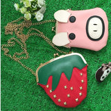 Cute Cartoon Strawberry Pig Rivet Chain Shoulder Bags Crossbody Bags